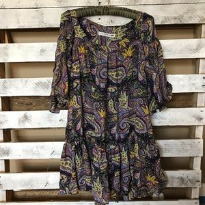 Zara Multicolor Boho Paisley Dress Ruffle Hem XS